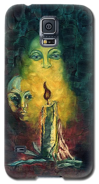 Candle Light Mother Child Faces In Yellow Candle Light Blue Red Background  Galaxy S5 Case