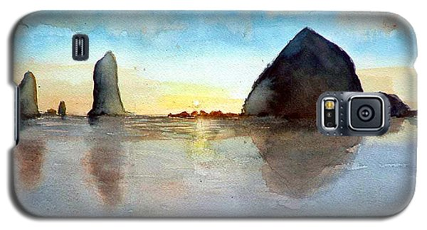 Galaxy S5 Case featuring the painting Cannon Beach Sunset by Chriss Pagani