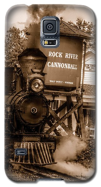 Galaxy S5 Case featuring the photograph Cannonball Express In Sepia by Janice Adomeit