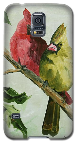 Cardinals With Holly Galaxy S5 Case by Alan Mager