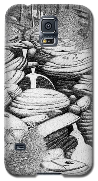 Galaxy S5 Case featuring the drawing Cascade In Boulders by Daniel Reed