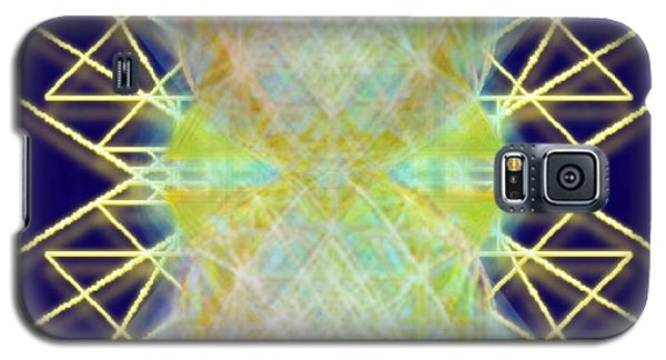 Galaxy S5 Case featuring the digital art Chalicesphere Pirayed Matrix Gold In Blue by Christopher Pringer