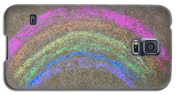 Galaxy S5 Case featuring the photograph Chalk Rainbow On Sidewalk by Renee Trenholm