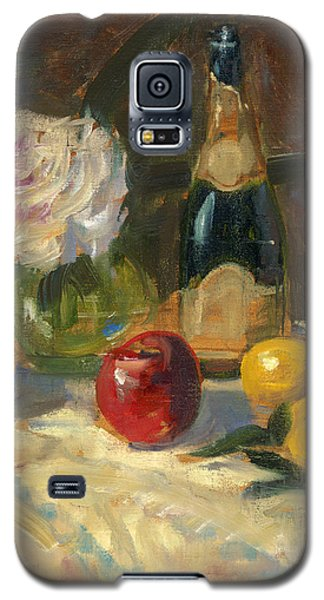 Galaxy S5 Case featuring the painting Champagne And Roses by Marlyn Boyd