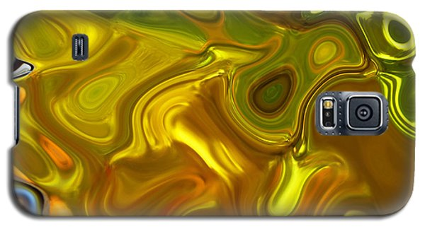 Galaxy S5 Case featuring the digital art Chartreuse Series Abstract Xii by Ginny Schmidt