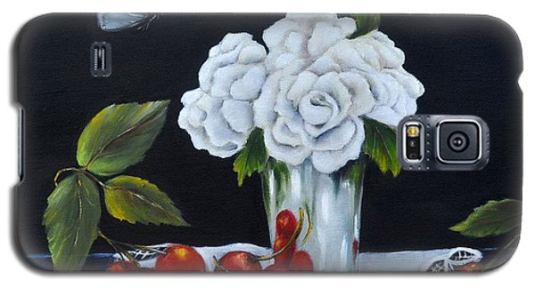 Galaxy S5 Case featuring the painting Cherries And Roses by Carol Sweetwood