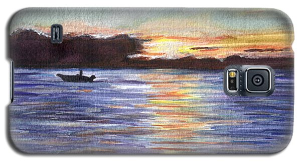 Galaxy S5 Case featuring the painting Chesapeake Dusk Boat Ride by Clara Sue Beym
