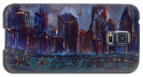 Galaxy S5 Case featuring the painting Chicago Night Skyline With Lake Sail Boats On Water Buildings And Architecture In Blue Orange Green  by M Zimmerman MendyZ