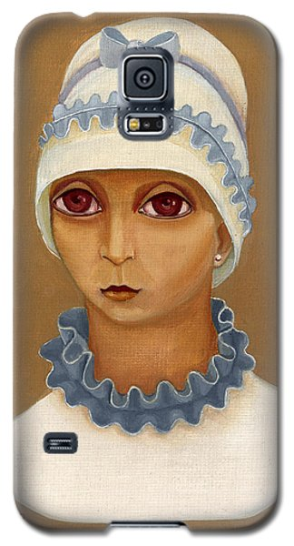 Colorful Young Woman Brown Eyes Blue White Hat Collar  With Ribbon Small Lips Galaxy S5 Case by Rachel Hershkovitz