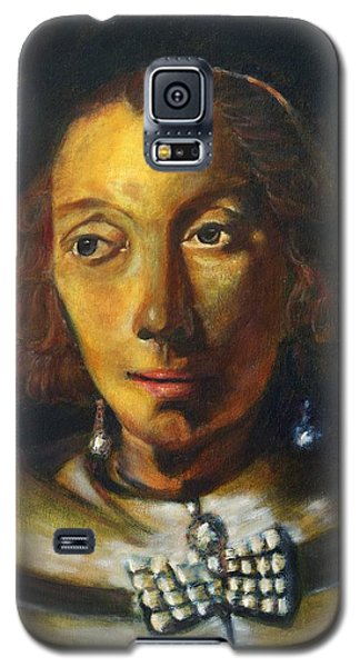 Galaxy S5 Case featuring the painting Copy Of Rembrandt Portrait Of A Lady With Ostrich Feather Fan by MendyZ M Zimmerman