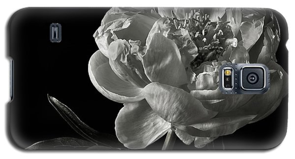 Galaxy S5 Case featuring the photograph Coral Peony In Black And White by Endre Balogh