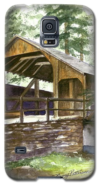 Galaxy S5 Case featuring the painting Covered Bridge At Knoebels  by Nancy Patterson