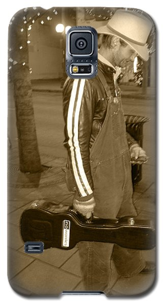 Galaxy S5 Case featuring the photograph Cowboy Musician On Streets by Kym Backland