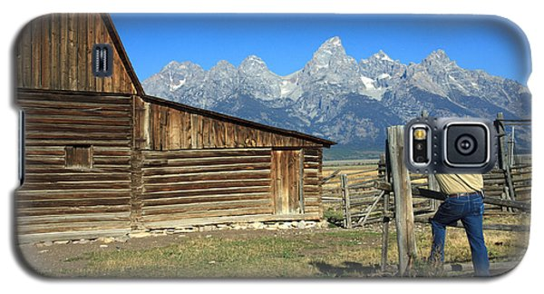 Galaxy S5 Case featuring the photograph Cowboy With Grand Tetons Vista by Karen Lee Ensley