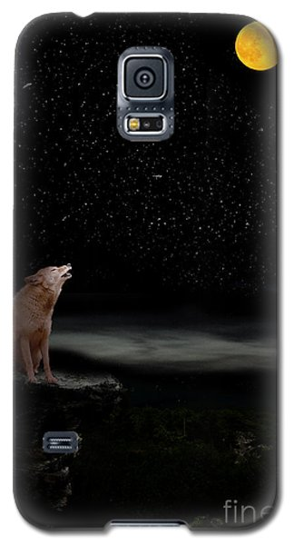 Galaxy S5 Case featuring the photograph Coyote Howling At Moon by Dan Friend