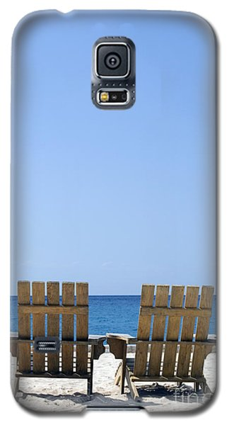 Galaxy S5 Case featuring the photograph Cozumel Mexico Beach Chairs And Blue Skies by Shawn O'Brien