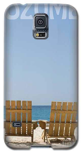 Galaxy S5 Case featuring the photograph Cozumel Mexico Poster Design Beach Chairs And Blue Skies by Shawn O'Brien
