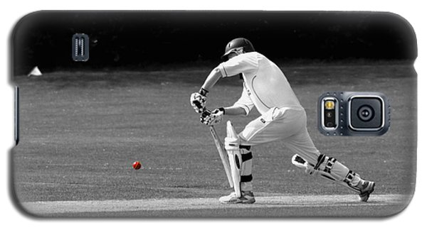 Cricketer In Black And White With Red Ball Galaxy S5 Case