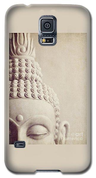 Cropped Stone Buddha Head Statue Galaxy S5 Case by Lyn Randle