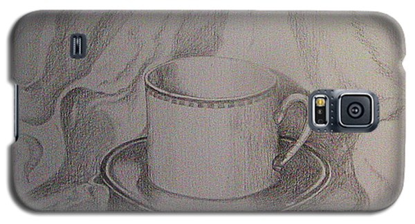 Galaxy S5 Case featuring the drawing Cup And Saucer On Material by Roena King