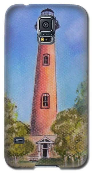Galaxy S5 Case featuring the pastel Currituck Lighthouse Nc by Julie Brugh Riffey