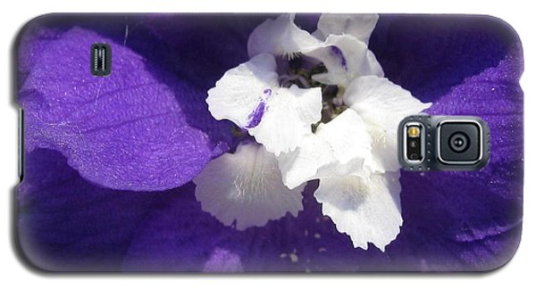 Galaxy S5 Case featuring the photograph Delphinium Named Blue With White Bee by J McCombie