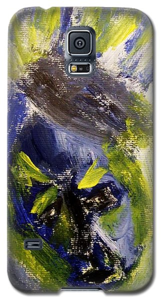 Galaxy S5 Case featuring the painting Despondent Expressionistic Portrait Figure In Blue And Yellow Religious Symbols Of Glory Bursting by M Zimmerman MendyZ