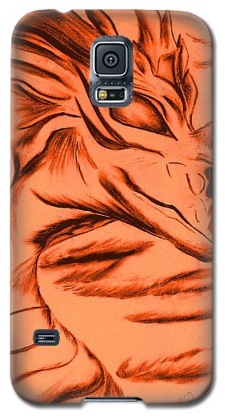 Galaxy S5 Case featuring the drawing Dragon In Color by Maria Urso