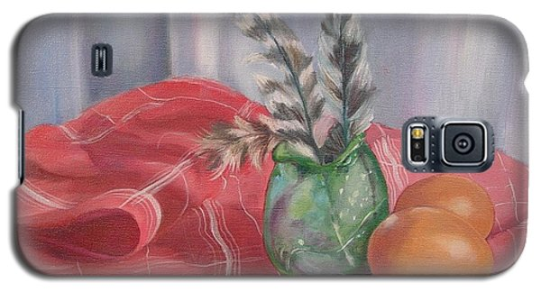 Galaxy S5 Case featuring the painting Eggs Feathers And Glass by Carol Berning