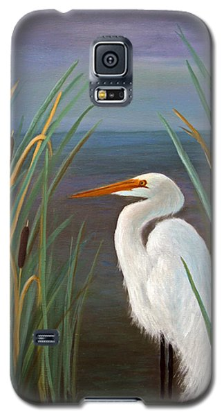 Egret In Cattails Galaxy S5 Case by Janet Greer Sammons