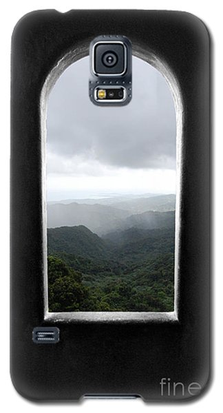 Galaxy S5 Case featuring the photograph El Yunque Cloudburst Color Splash Black And White by Shawn O'Brien