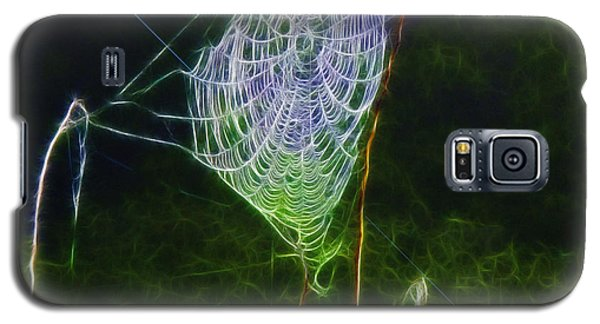 Galaxy S5 Case featuring the photograph Electric Web In The Fog by EricaMaxine  Price