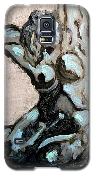 Galaxy S5 Case featuring the painting Emerald Green And Blue Expressionist Nude Female Figure Painting Filled With Emotion And Movement by MendyZ M Zimmerman