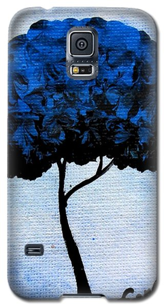 Galaxy S5 Case featuring the painting Emily's Trees Blue by Oddball Art Co by Lizzy Love