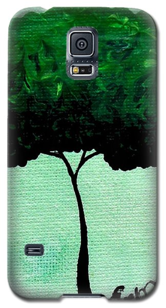 Galaxy S5 Case featuring the painting Emily's Trees Green by Oddball Art Co by Lizzy Love