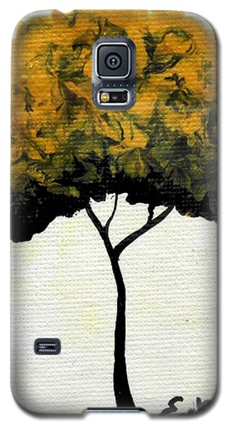 Galaxy S5 Case featuring the painting Emily's Trees Yellow by Oddball Art Co by Lizzy Love