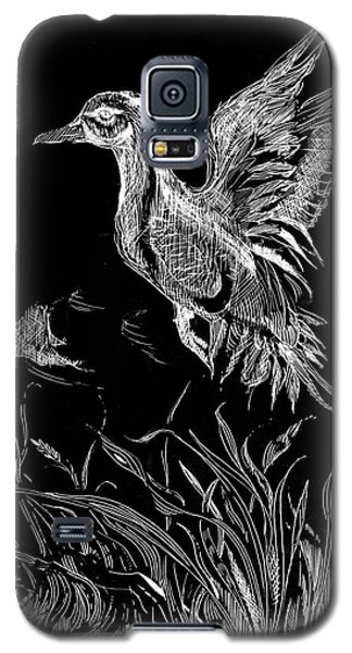 Galaxy S5 Case featuring the drawing Etched Duck by Lizi Beard-Ward