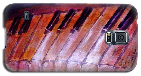 Feeling The Blues On Piano In Magenta Orange Red In D Major With Black And White Keys Of Music Galaxy S5 Case