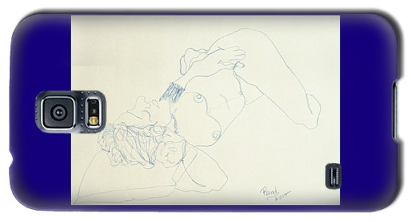 Female Nude In Blue Galaxy S5 Case by Rand Swift