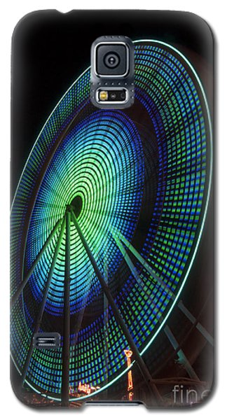 Ferris Wheel Lit Shades Of Green And Blue Galaxy S5 Case by Darleen Stry