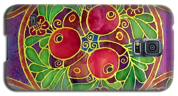 Festive Pomegranates In Gold And Vivid Colors Wall Decor In Red Green Purple Branch Leaves Flowers Galaxy S5 Case