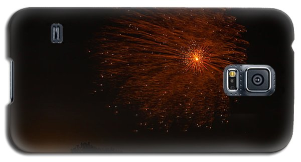 Galaxy S5 Case featuring the photograph Fireworks And Wildfire Moon by Tom Gort