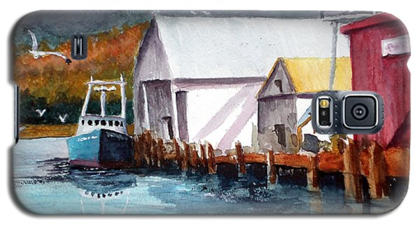 Galaxy S5 Case featuring the painting Fishing Boat And Dock Watercolor by Chriss Pagani