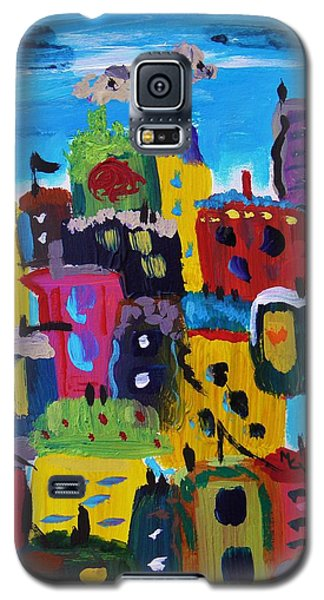 Five Bright Yellow Buildings Galaxy S5 Case by Mary Carol Williams