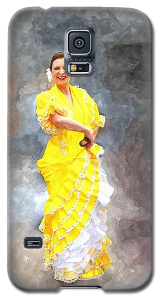 Galaxy S5 Case featuring the photograph Flamenco Dancer In Yellow by Davandra Cribbie