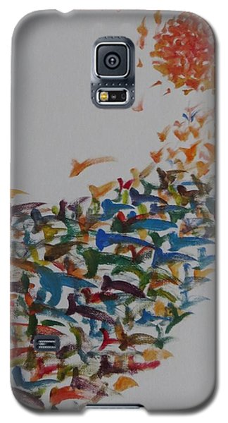 Galaxy S5 Case featuring the painting Fleet Of Birds by Sonali Gangane