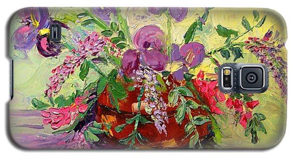Galaxy S5 Case featuring the painting Floral With Knives by Carol Berning