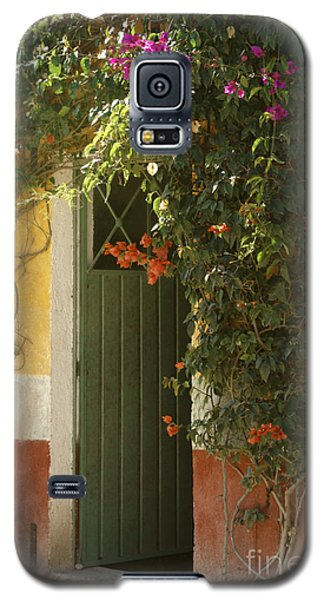 Galaxy S5 Case featuring the photograph Flower Bedecked Doorway Mineral De Pozos Mexico by John  Mitchell