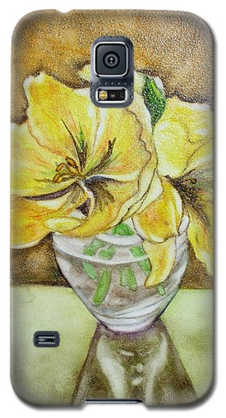 Galaxy S5 Case featuring the painting Flowers In Crystal Bowl by Mary Kay Holladay
