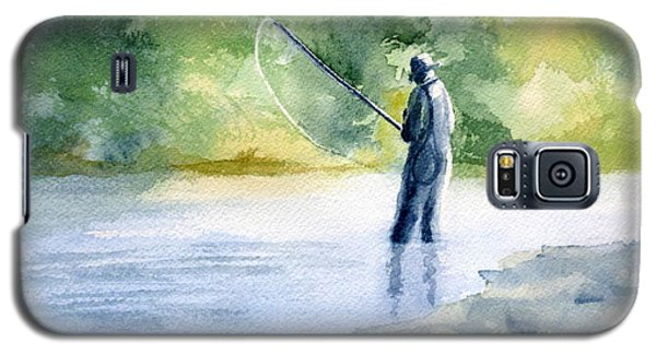 Galaxy S5 Case featuring the painting Flyfishing by Eleonora Perlic